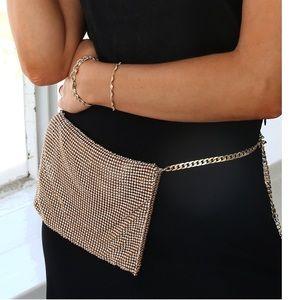 Ettika Metallic Belt Bag Gold Jeweled Fanny Pack